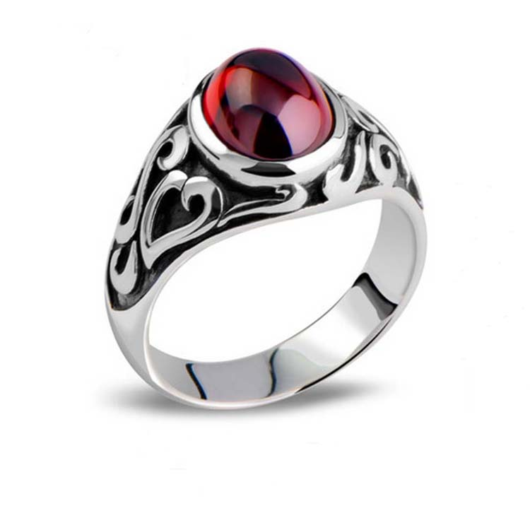 [CN] Thai Retro Sterling Silver Oval Created Garnet Ring For Men (013682)
