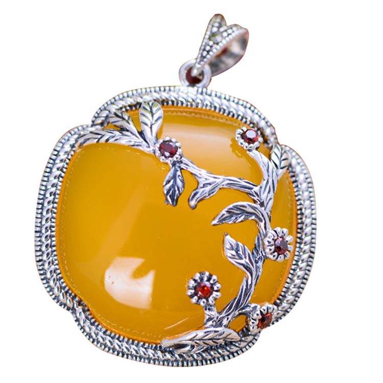[CN] Yellow Chalcedony Charm 925 Silver Vintage Women Pendant Necklace (XH052043)