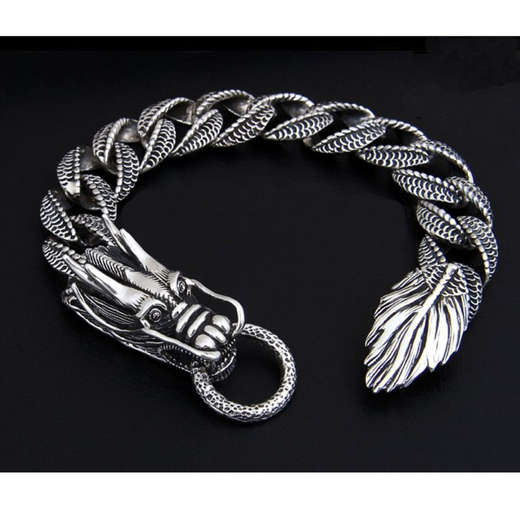 [CN] Thai Vintage Sterling Silver Dragon Bracelet Men