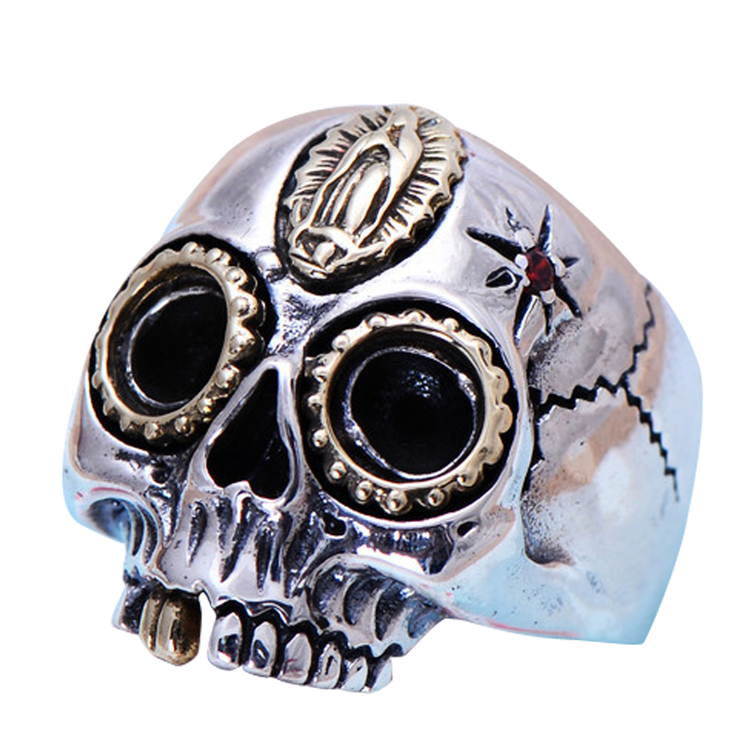 [CN] Retro Jewelry 925 Silver Golden Two Tones Skull Mens Ring (XH056039W)